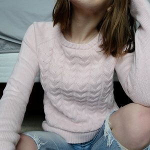 Land's End Cable Knit Pink Sweater